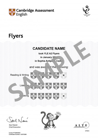 Cambridge Assessment English A2 Flyers sample certificate
