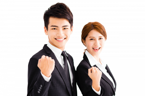 Business man and woman fist pumping with motivation