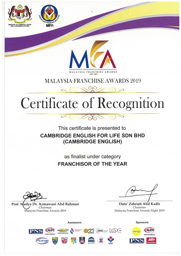 Malaysia Franchise Awards 2019 Franchisor of the Year Certificate of Recognition