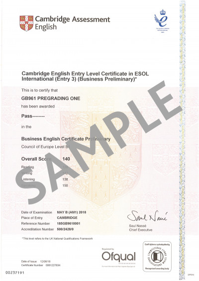 Cambridge Assessment English B1 Business Preliminary certificate