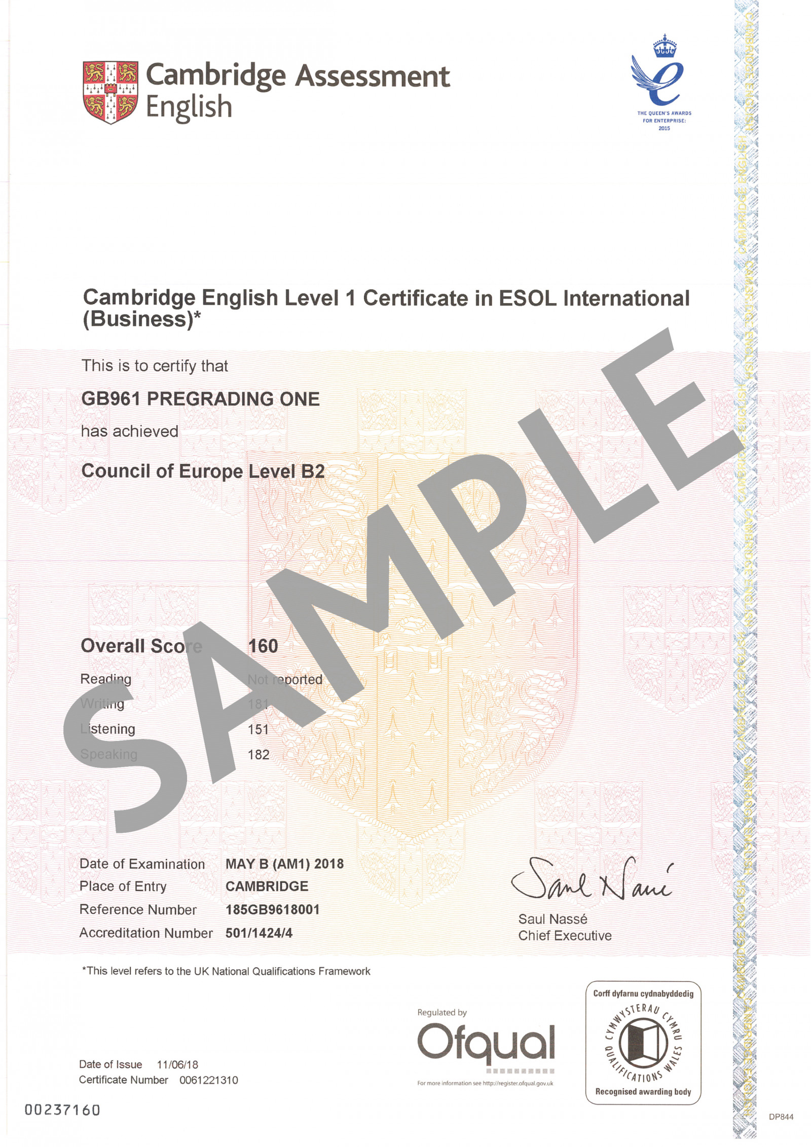 Cambridge Assessment English B2 Business Vantage certificate