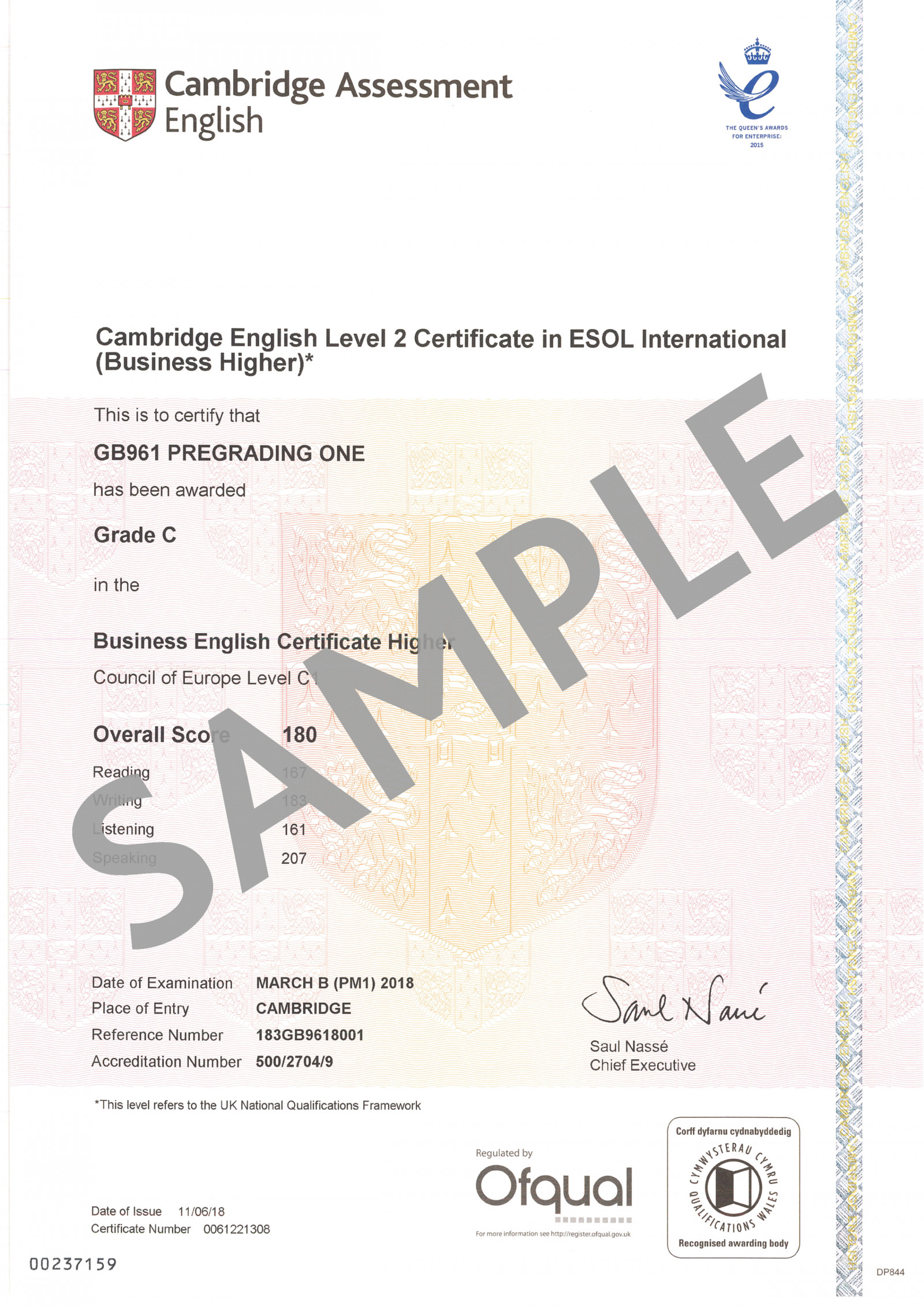 Cambridge Assessment English C2 Business Higher certificate