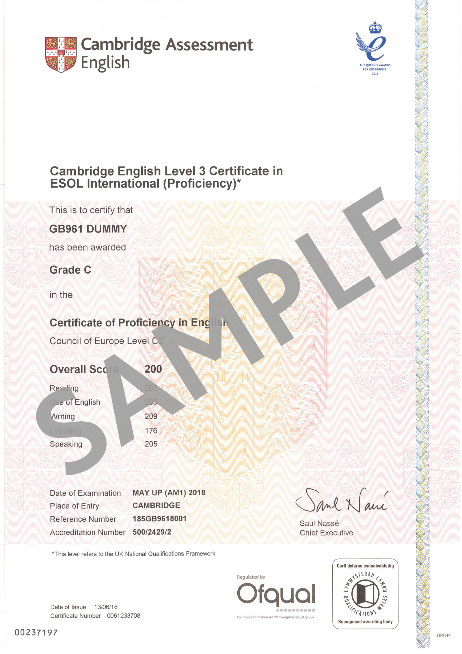 Cambridge Assessment English C2 Proficiency certificate